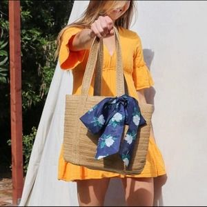 Draper James Everyday Straw Bag Floral Rattan Bow